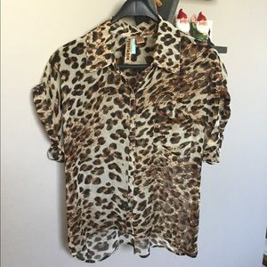 Eyeshadow Sheer Animal Print Top Shirt Button Down